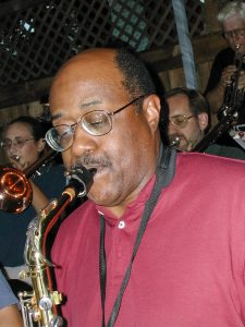Otsego Jazz Ensemble alto saxophonist Joe Davis performing with the band at the former Bay Pointe Restaurant