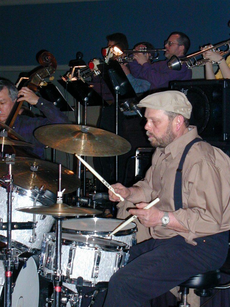 Otsego Jazz Ensemble drummer Jeff Bourdo at a concert gig